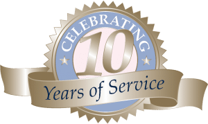 10 years of service banner